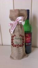 Personalized Welsh Wine Father Christmas Xmas Santa Sack / Stocking Bag Jute Hessian